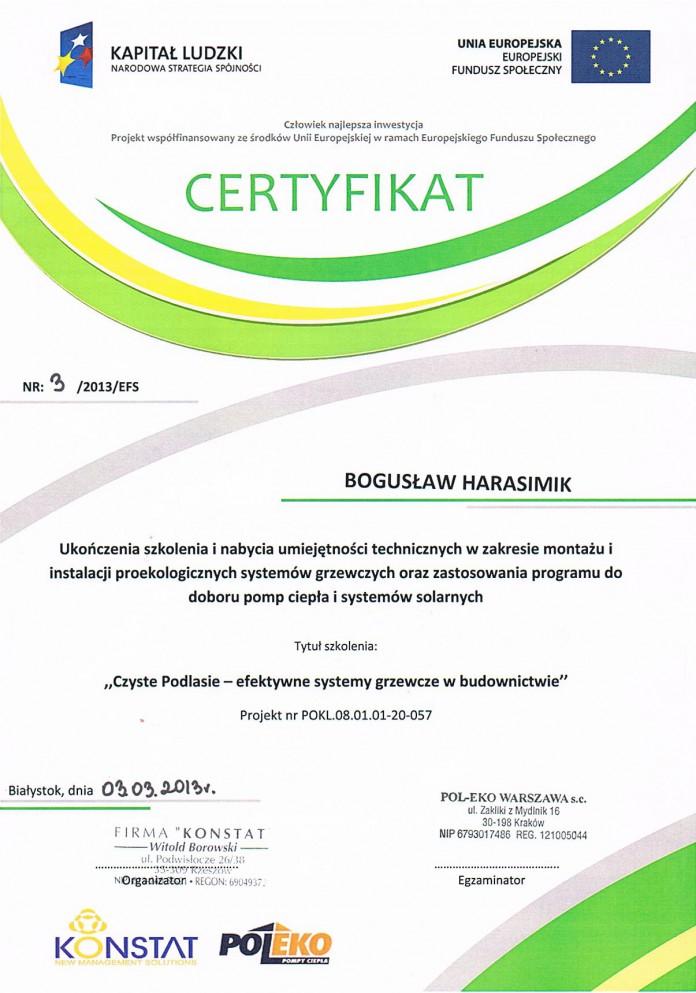 Certyikat CZYSTE PODLASIE 2013