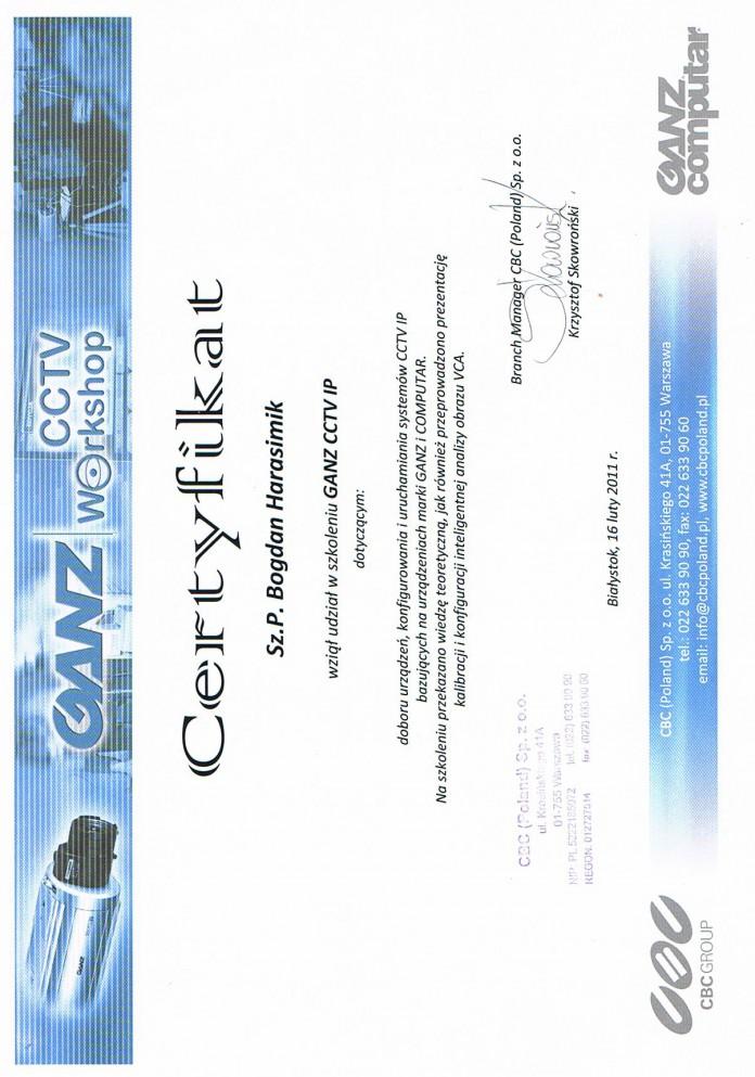 Certyikat GANZ 2011